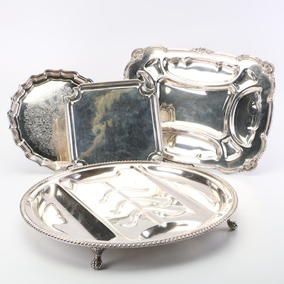 Silver Plate Trays Including Sheffield Meat Server