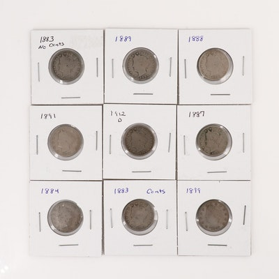 "Nine Different Liberty Head ""V"" Nickels"