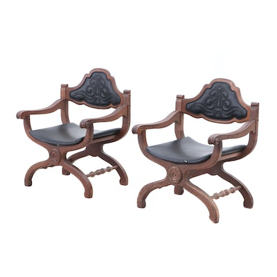 Bassett Oak and Leather Italian Renaissance Style Curule Armchairs