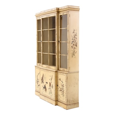 Drexel Chinoiserie George III Style Painted Break-Front Cabinet, 20th Century