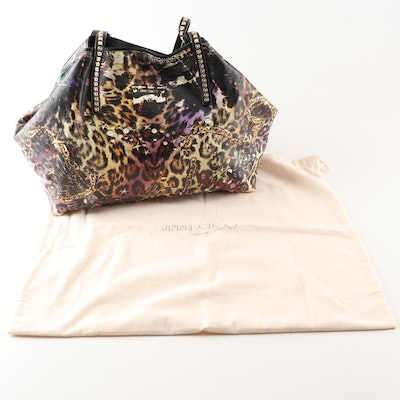 Jimmy Choo Tote Bag in Multicolor Leopard Print Glazed Canvas and Black Leather