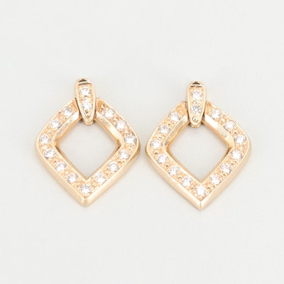 14K Yellow Gold Diamond Stud Earring Enhancers