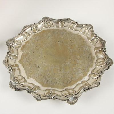 Charles Edward Nixon English Silver Plate Footed Salver, 1881–1902