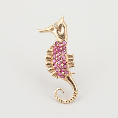 14K Yellow Gold Diamond and Ruby Seahorse Brooch