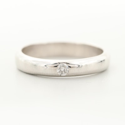 14K White Gold Inset Diamond Solitaire Band