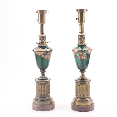 Converted Neoclassical Style Glass and Brass Kerosene Torchiere Lamps