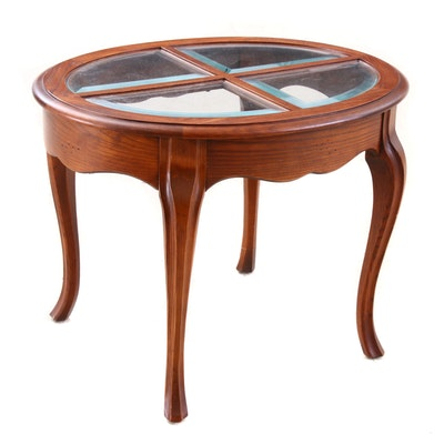 Oak End Table with Beveled Glass, Contemporary