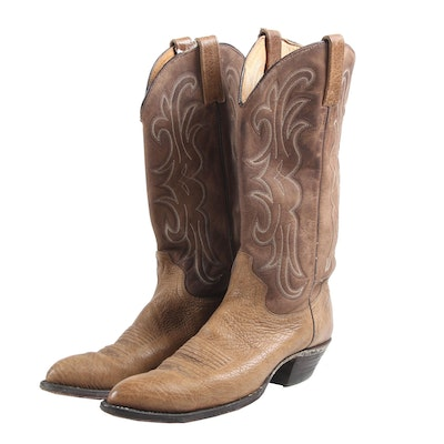 Women's J. Chisholm Distressed Bullhide Leather Two-Tone Western Boots