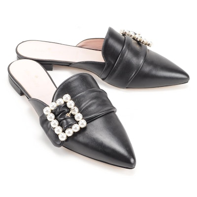 Kate Spade New York Broadway Pearl Buckle Embellished Black Leather Mules