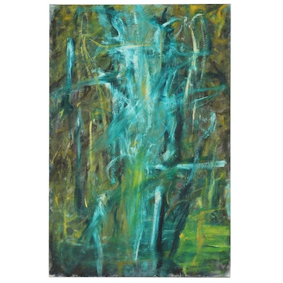 "Richard Snyder Monumental Abstract Oil Painting ""Corn Monster"""