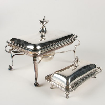 Silver Plate Chaffing Dish and Crescent Butter Dish