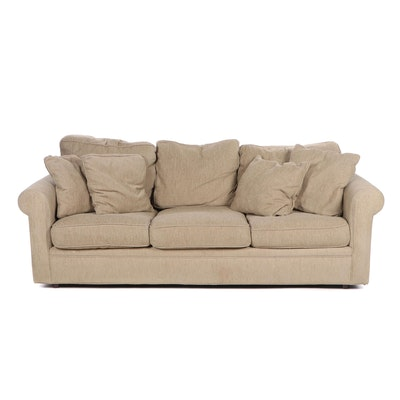 Crate and Barrel Contemporary Beige Fabric Upholstered Sofa