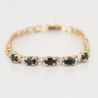10K Yellow Gold and Sapphire Bracelet