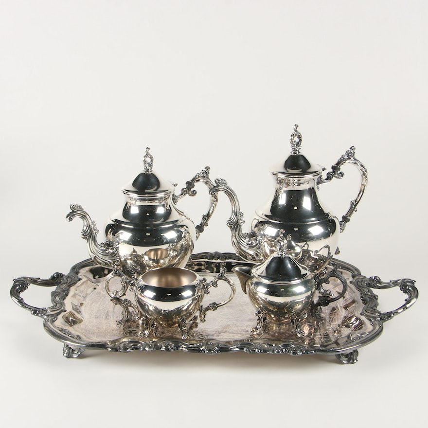 F.B. Rogers Silver Plate Tea and Coffee Service with Tray