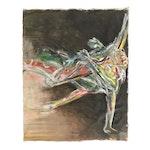 "Esther Liu 1984 Monumental Figural Oil Painting ""Helpless"""