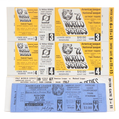 Detroit Tigers 1972 ALC Full Ticket with Phantom World Series Tickets