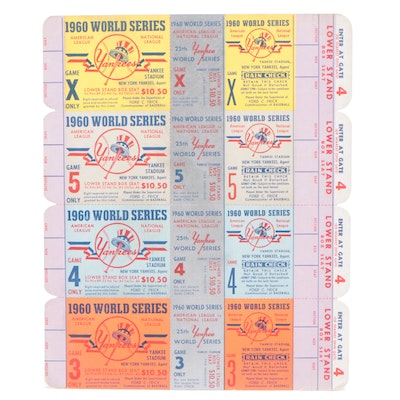 Four 1960 Attached Unused New York Yankees World Series Tickets