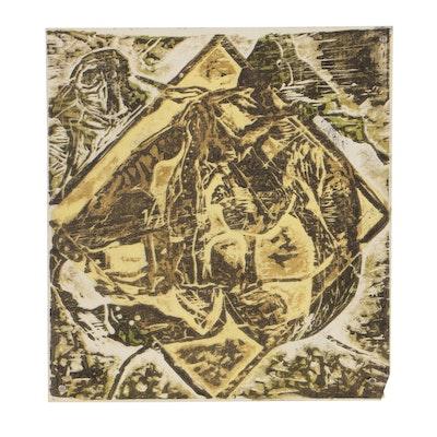 Oscar Murillo Abstract Woodblock
