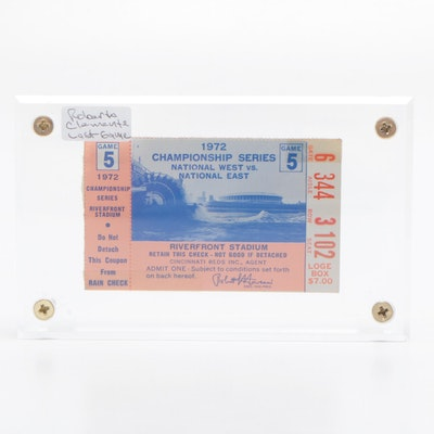 """1972 """"Game 5"""" NLCS Baseball Ticket Stub, Clemente's Last Game Played"""
