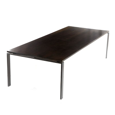 Large Contemporary Room & Board Charcoal Finished Metal and Wood Dining Table