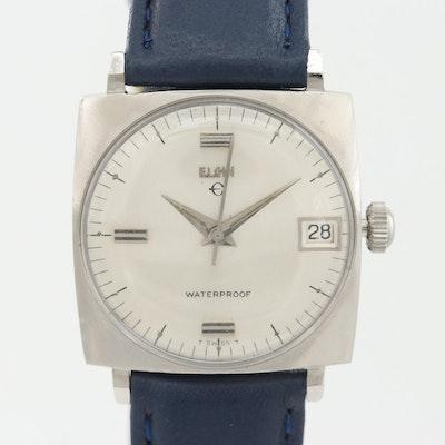 Vintage Elgin Stainless Steel Stem Wind Wristwatch