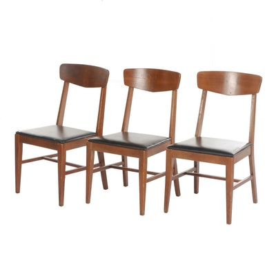 Mid Century Modern Vaughn-Basset Vinyl Upholstered Walnut Chairs, Set of Three