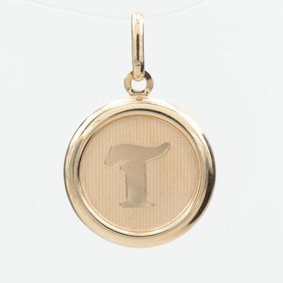 "14K Yellow Gold Monogram ""T"" Pendant"