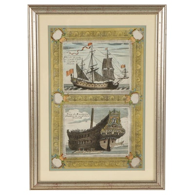 Hand Colored Etching Merchant Ships