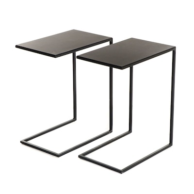 Pair of Contemporary Modern Black Metal End Tables