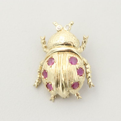 14K Yellow Gold Ruby and Diamond Beetle Brooch