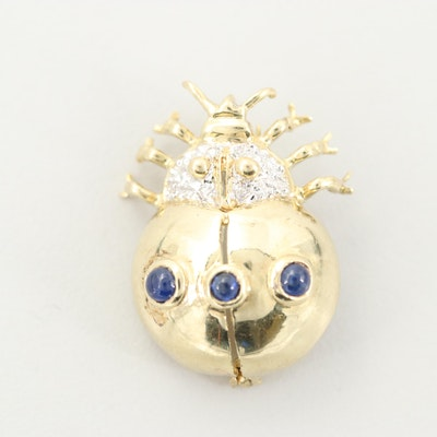 14K Yellow Gold Sapphire and Diamond Beetle Brooch
