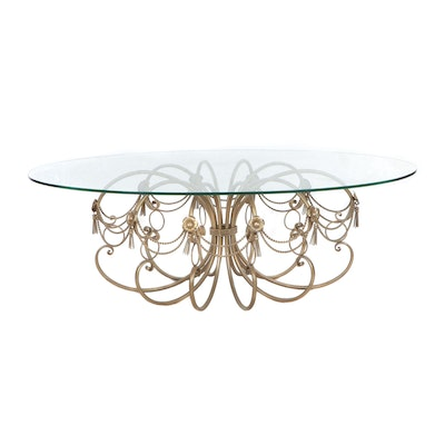 Glass Top Coffee Table with Ornate Painted Metal Base