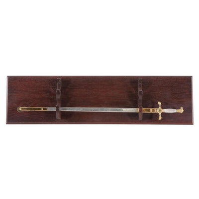 St. John's College Decorative Stainless Steel Sword with Wood Wall Mount