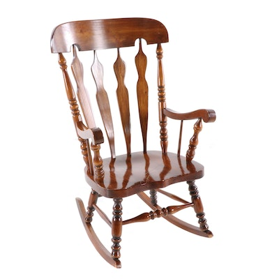 Colonial Style Pine Rocking Chair, 1970s
