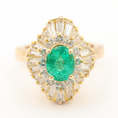14K and 18K Yellow Gold Synthetic Emerald and 1.34 CTW Diamond Ring