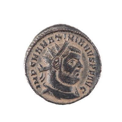 Ancient Roman Maximianus AE Follis, Circa 295-299 AD