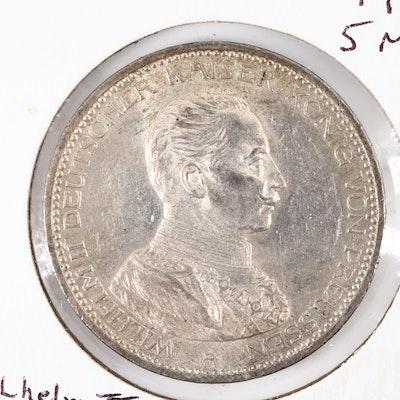 1914-A German State Prussia Commemorative Five Mark Silver Coin