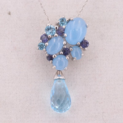 9K White Gold Blue Topaz, Chalcedony and Iolite Pendant with 10K Gold Necklace