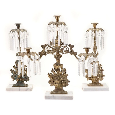 Cast Brass and Crystal Girandole Garniture Set with Etched Glass Prisms