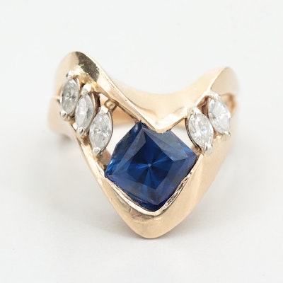 14K Yellow Gold Synthetic Blue Sapphire and Diamond Ring