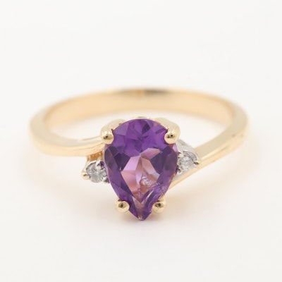 10K Yellow Gold Amethyst and Diamond Bypass Ring