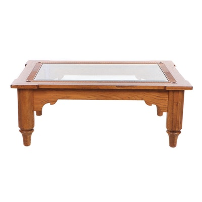 Oak Glass Top Coffee Table, Late 20th Century