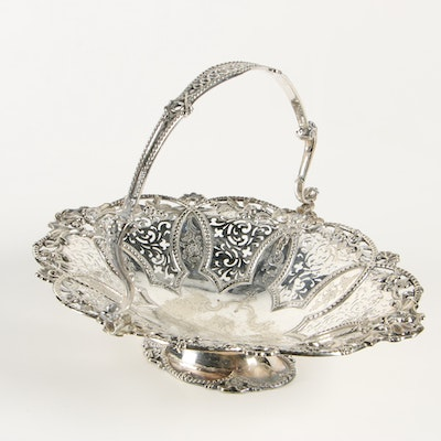 Roberts & Hall English Silver Plate Reticulated Basket, Late 19th Century