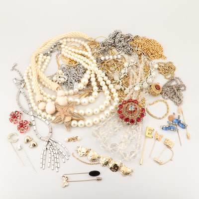 Assortment of Jewelry with Multiple Gemstones Featuring Coro and Crown Trifari