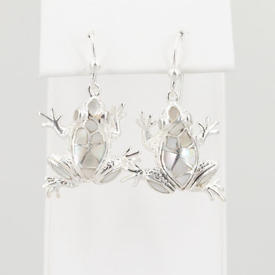 Sterling Silver Mother of Pearl Frog Dangle Earrings