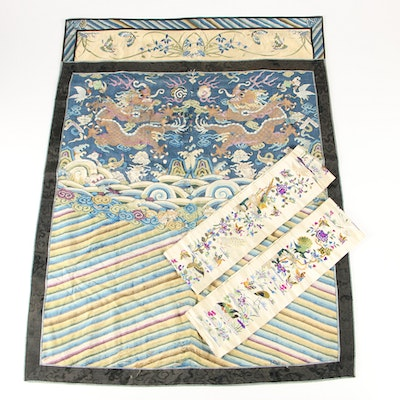 Chinese Embroidered Robe Panel and Silk Cuffs, Qing Dynasty