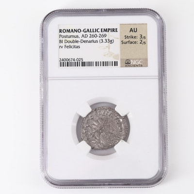 NGC Graded Ancient Roman-Gallic Empire Postumus Double Denarius