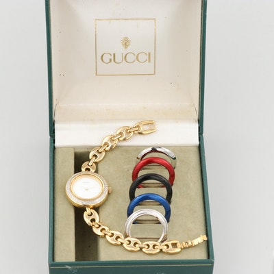 Gucci 11/12.2 Gold Tone Quartz Wristwatch With Interchangeable Bezels