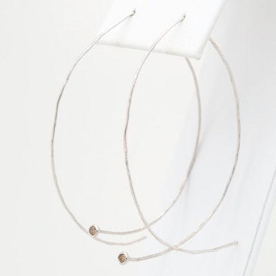 14K White Gold Diamond Threader Earrings