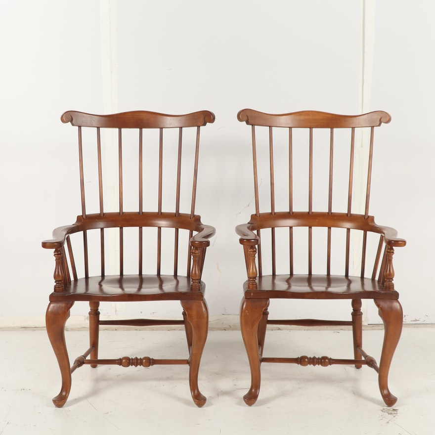 Pair of Wooden Windsor Armchairs; 20th Century